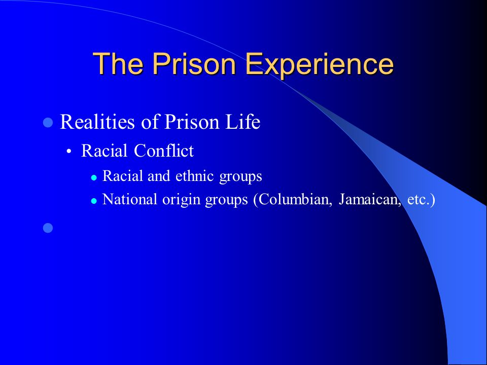 The Prison Experience Realities of Prison Life Racial Conflict Racial and ethnic groups National origin groups (Columbian, Jamaican, etc.)
