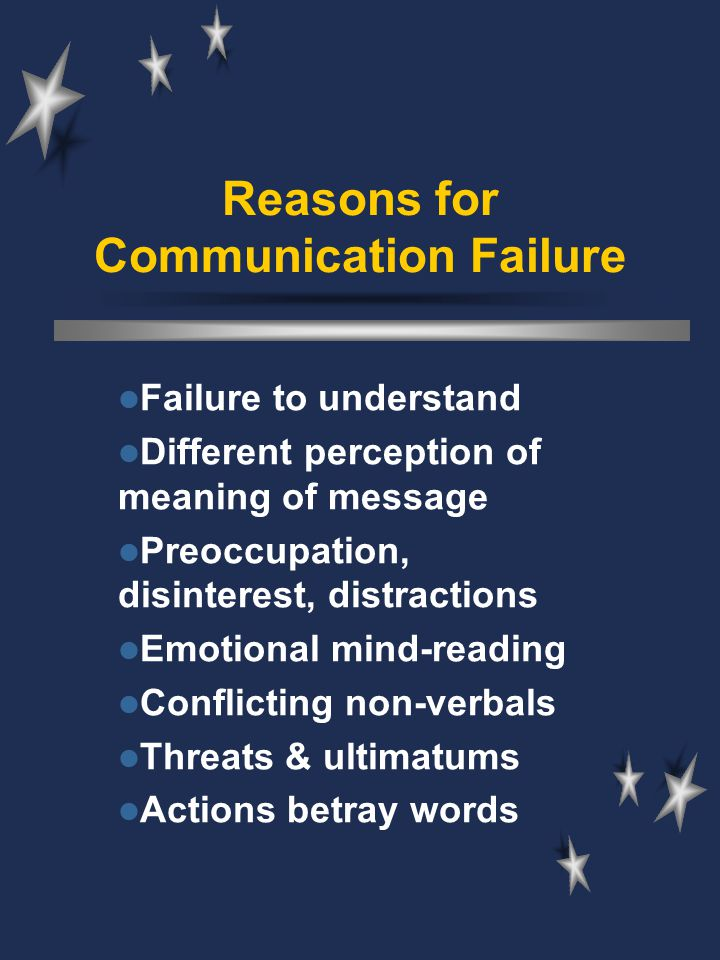 Reasons for Communication Failure Failure to understand Different perception of meaning of message Preoccupation, disinterest, distractions Emotional