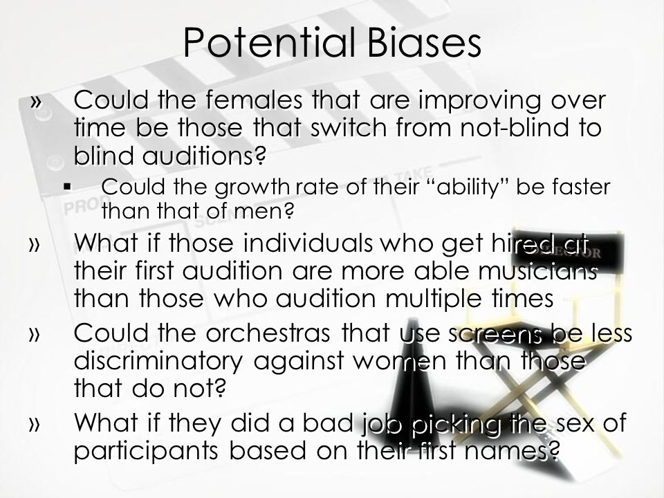 Potential Biases » Could the females that are improving over time be those that switch from not-blind to blind auditions?  Could the growth rate of t