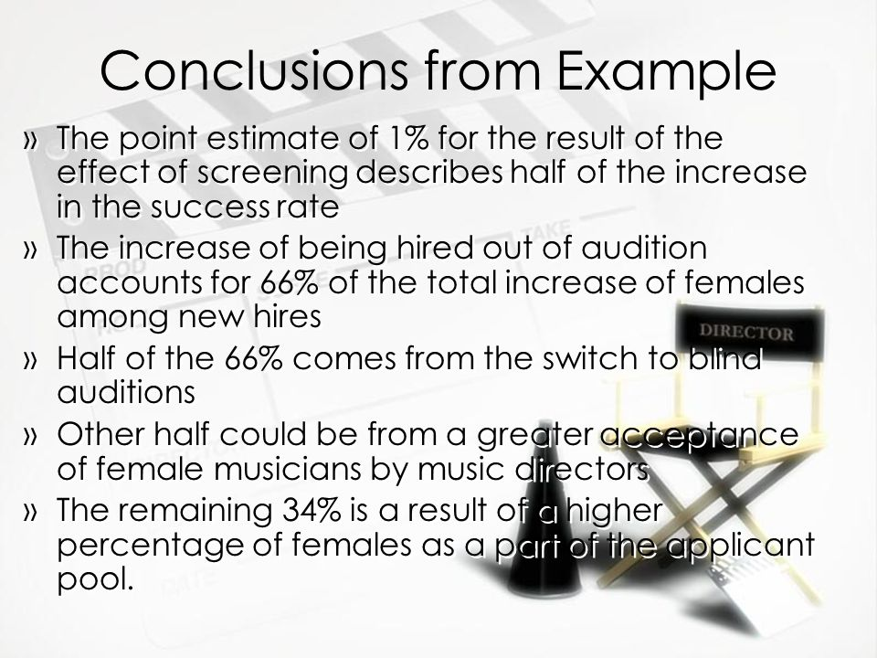Conclusions from Example »The point estimate of 1% for the result of the effect of screening describes half of the increase in the success rate »The i