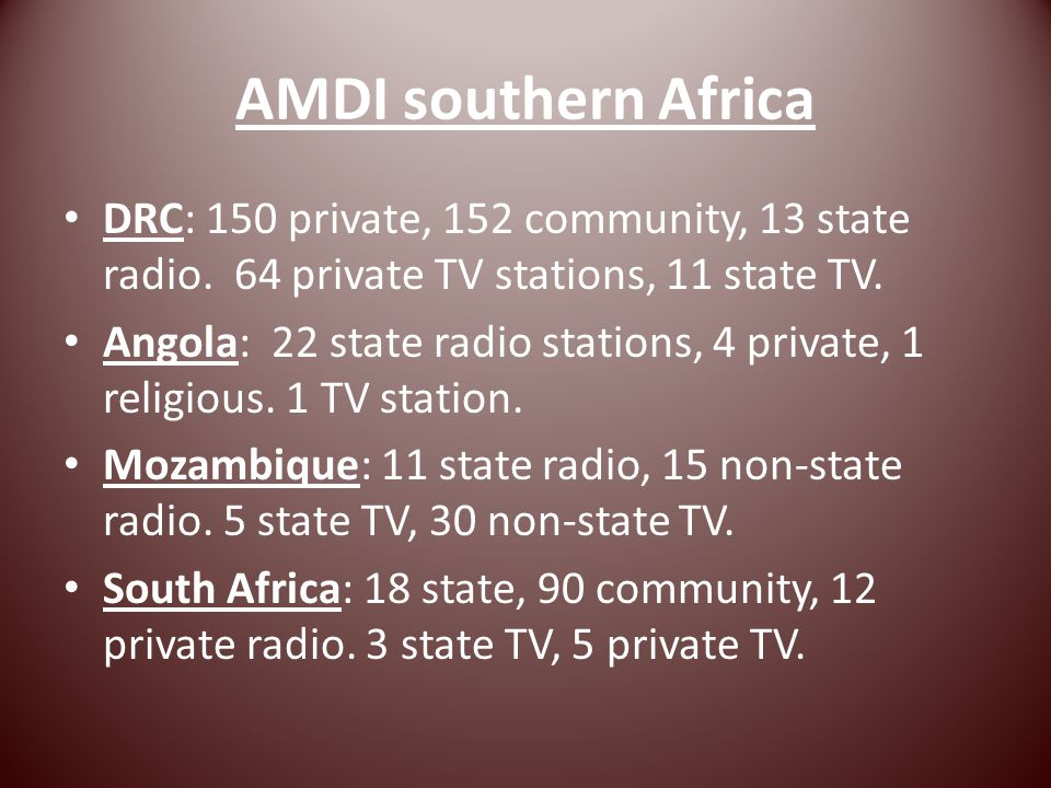 AMDI southern Africa DRC: 150 private, 152 community, 13 state radio.