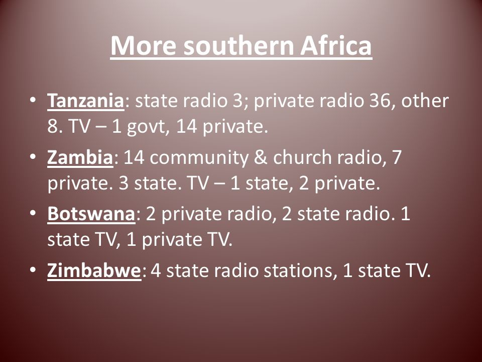 More southern Africa Tanzania: state radio 3; private radio 36, other 8.