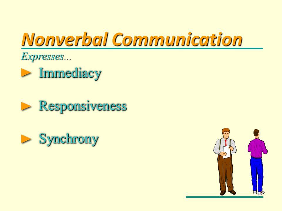 Immediacy Immediacy Responsiveness Responsiveness Synchrony Synchrony Immediacy Immediacy Responsiveness Responsiveness Synchrony Synchrony Expresses.