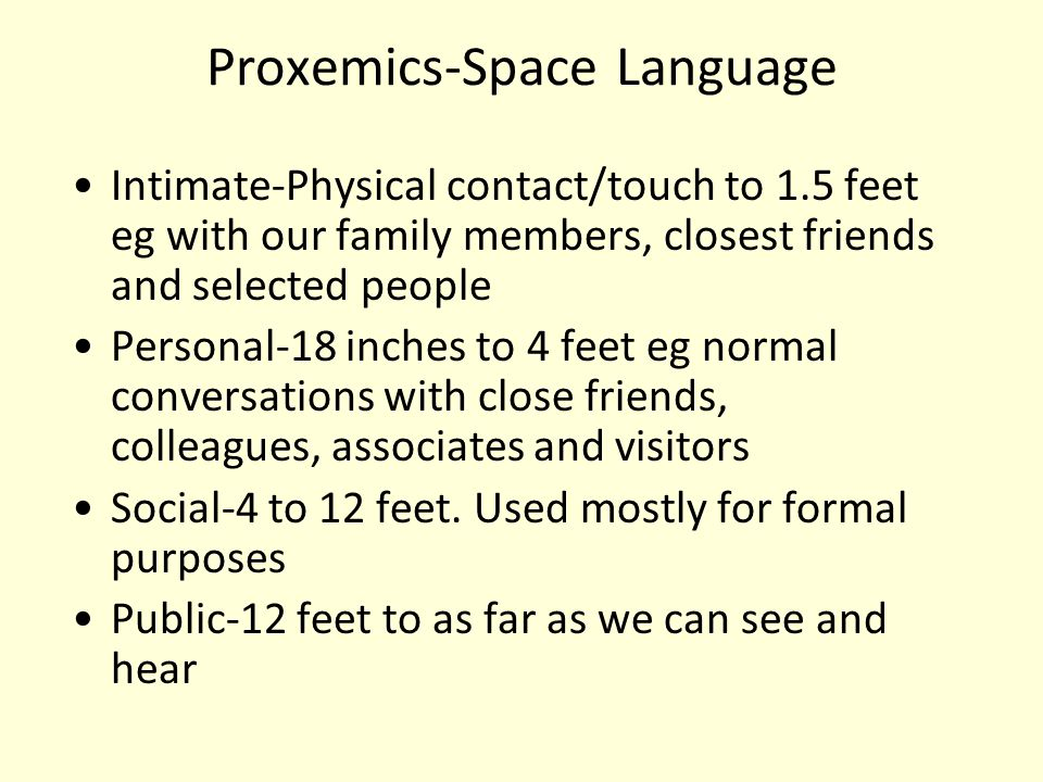 Proxemics-Space Language Intimate-Physical contact/touch to 1.5 feet eg with our family members, closest friends and selected people Personal-18 inche