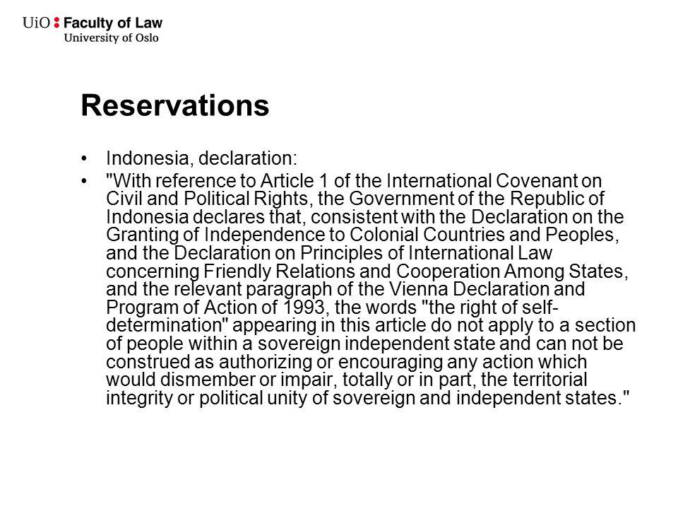 Reservations Indonesia, declaration: