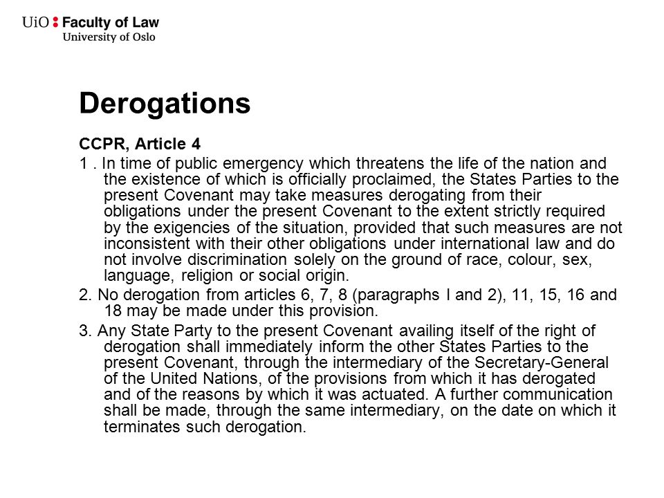 Derogations CCPR, Article 4 1.