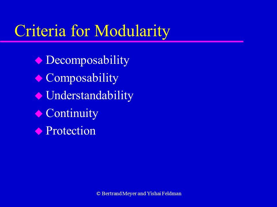 © Bertrand Meyer and Yishai Feldman Criteria for Modularity u Decomposability u Composability u Understandability u Continuity u Protection