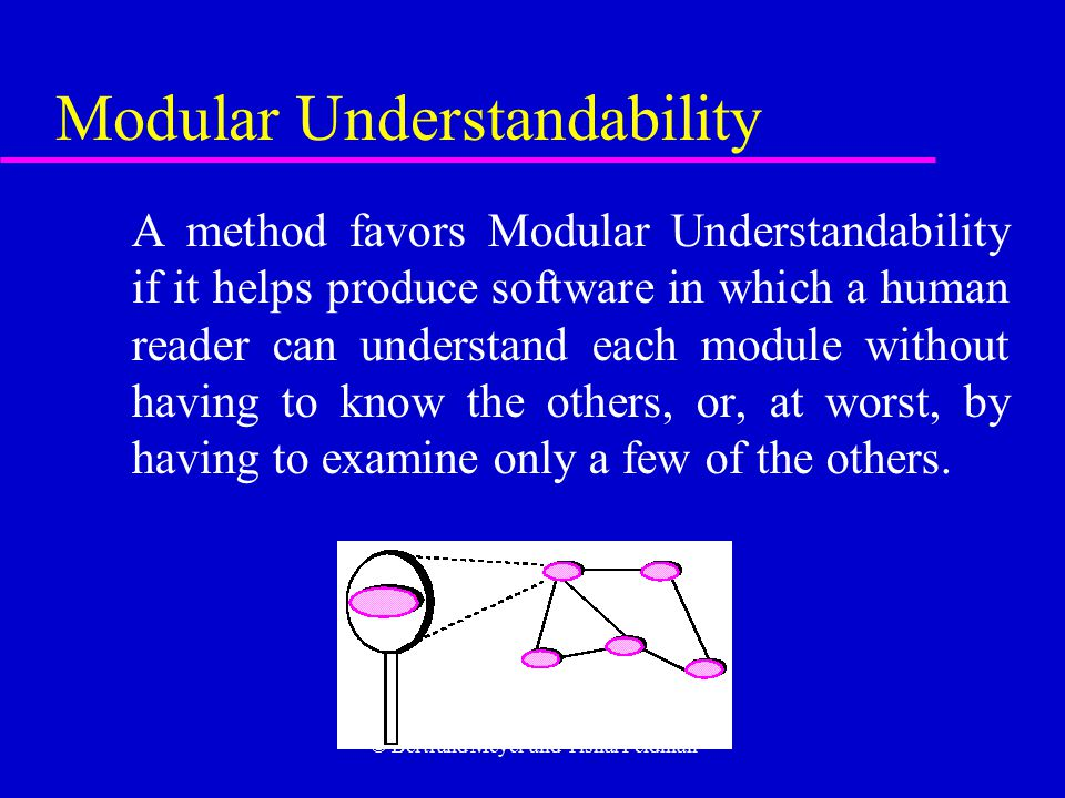 © Bertrand Meyer and Yishai Feldman Modular Understandability A method favors Modular Understandability if it helps produce software in which a human reader can understand each module without having to know the others, or, at worst, by having to examine only a few of the others.