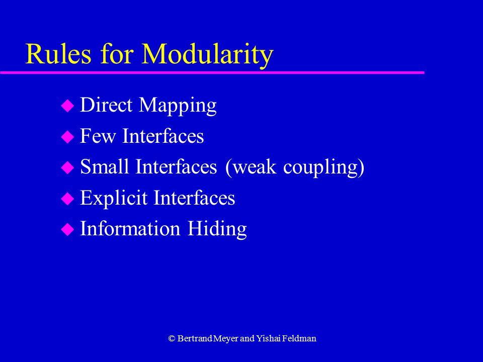 © Bertrand Meyer and Yishai Feldman Rules for Modularity u Direct Mapping u Few Interfaces u Small Interfaces (weak coupling) u Explicit Interfaces u