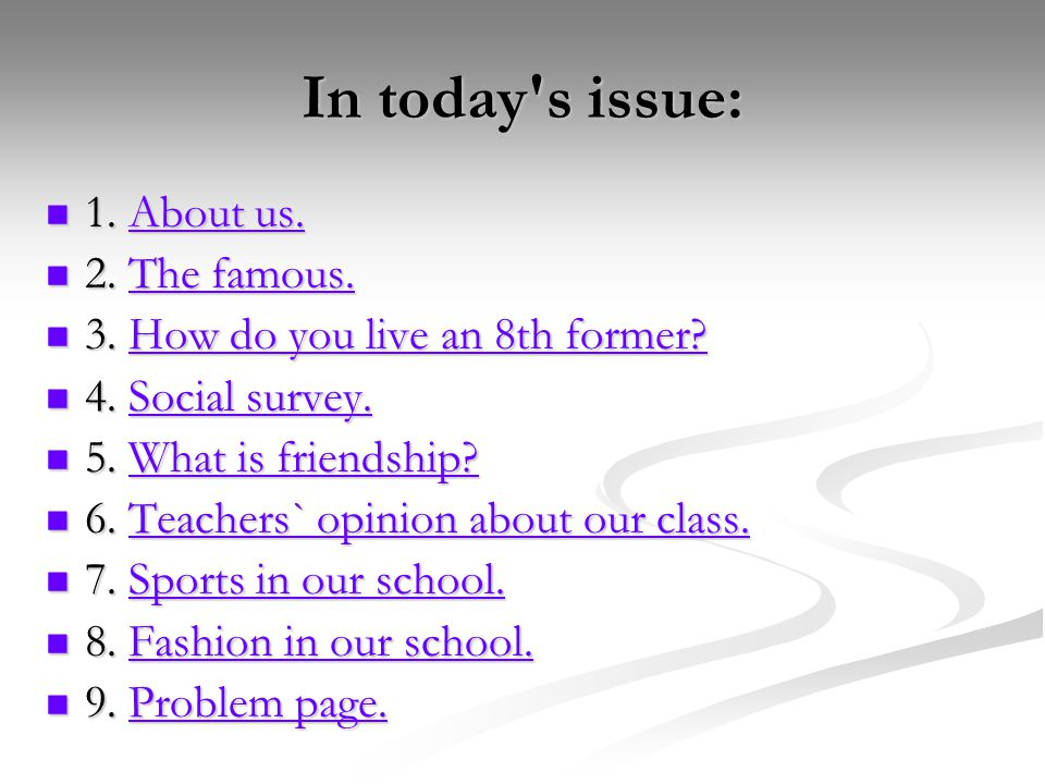 In today s issue: 1. About us. 1. About us.About us.About us.