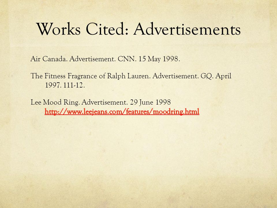 Works Cited: Advertisements