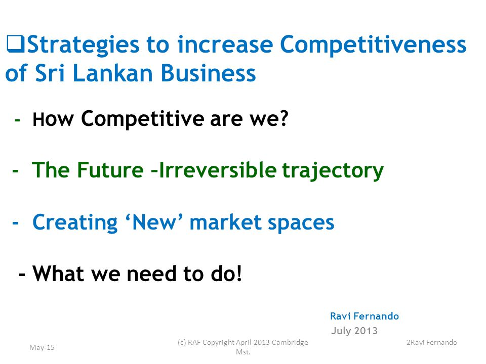  Strategies to increase Competitiveness of Sri Lankan Business - H ow Competitive are we.