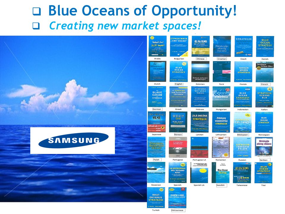  Blue Oceans of Opportunity!  Creating new market spaces!