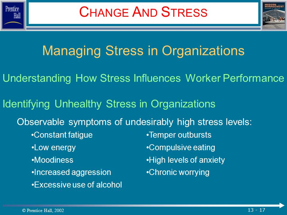 © Prentice Hall, 2002 13 - 17 C HANGE A ND S TRESS Managing Stress in Organizations Understanding How Stress Influences Worker Performance Identifying Unhealthy Stress in Organizations Observable symptoms of undesirably high stress levels: Constant fatigueTemper outbursts Low energyCompulsive eating MoodinessHigh levels of anxiety Increased aggressionChronic worrying Excessive use of alcohol.