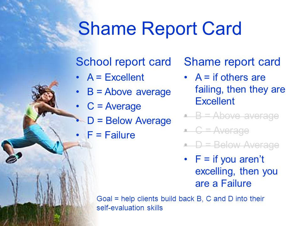 Shame Report Card School report card A = Excellent B = Above average C = Average D = Below Average F = Failure Shame report card A = if others are failing, then they are Excellent B = Above average C = Average D = Below Average F = if you aren't excelling, then you are a Failure Goal = help clients build back B, C and D into their self-evaluation skills
