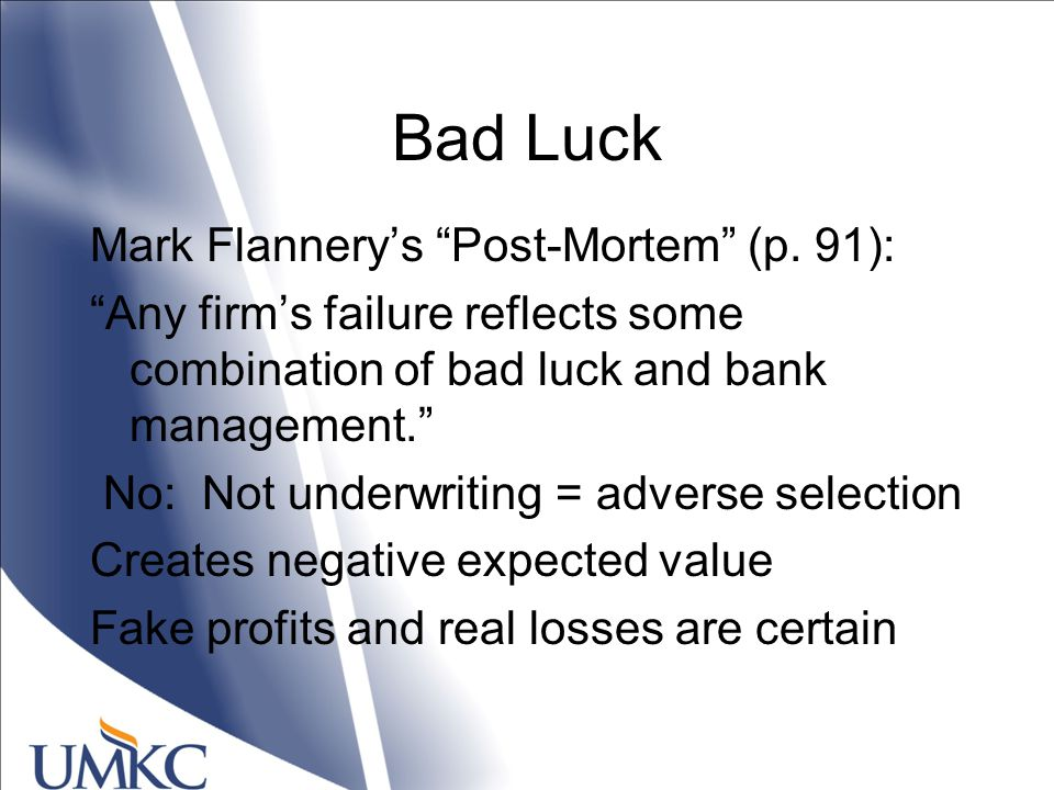 Bad Luck Mark Flannery's Post-Mortem (p.