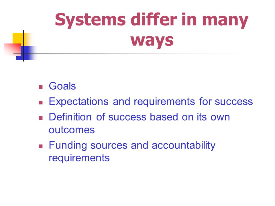 Systems differ in many ways Goals Expectations and requirements for success Definition of success based on its own outcomes Funding sources and accountability requirements