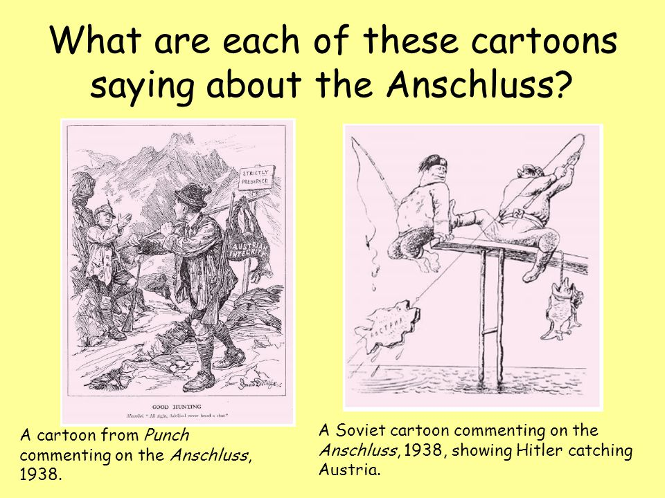 What are each of these cartoons saying about the Anschluss.