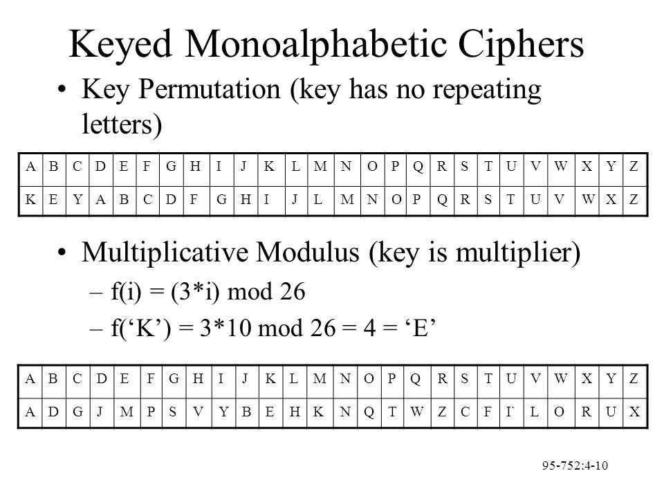 95-752:4-10 Keyed Monoalphabetic Ciphers Key Permutation (key has no repeating letters) Multiplicative Modulus (key is multiplier) –f(i) = (3*i) mod 2