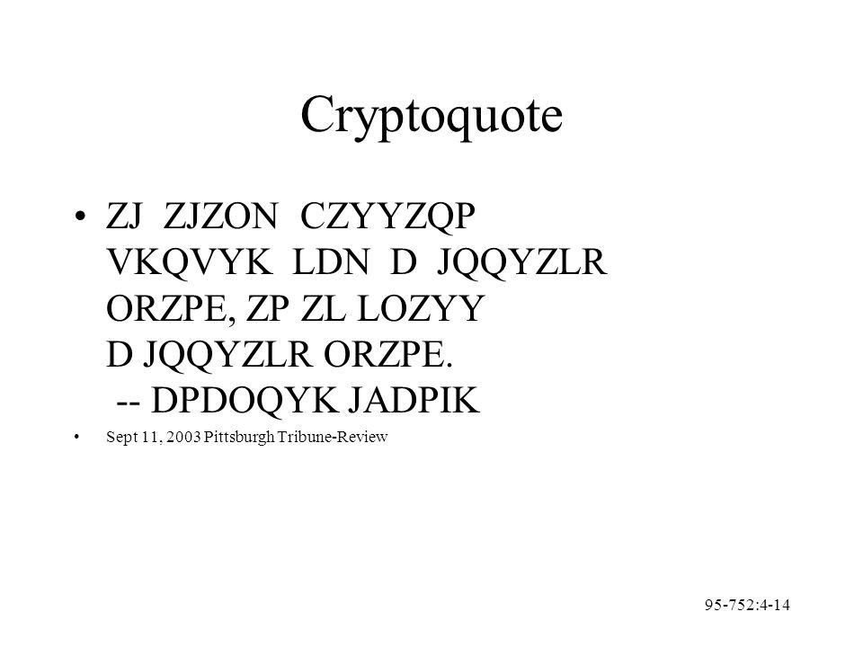95-752:4-14 Cryptoquote ZJ ZJZON CZYYZQP VKQVYK LDN D JQQYZLR ORZPE, ZP ZL LOZYY D JQQYZLR ORZPE.