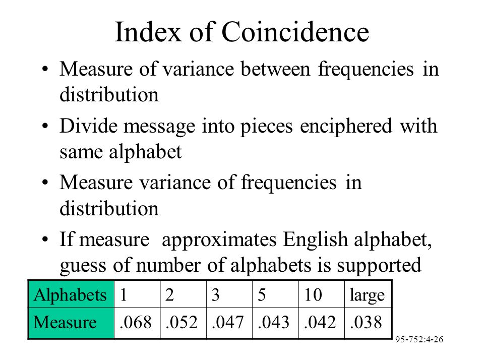95-752:4-26 Index of Coincidence Measure of variance between frequencies in distribution Divide message into pieces enciphered with same alphabet Meas