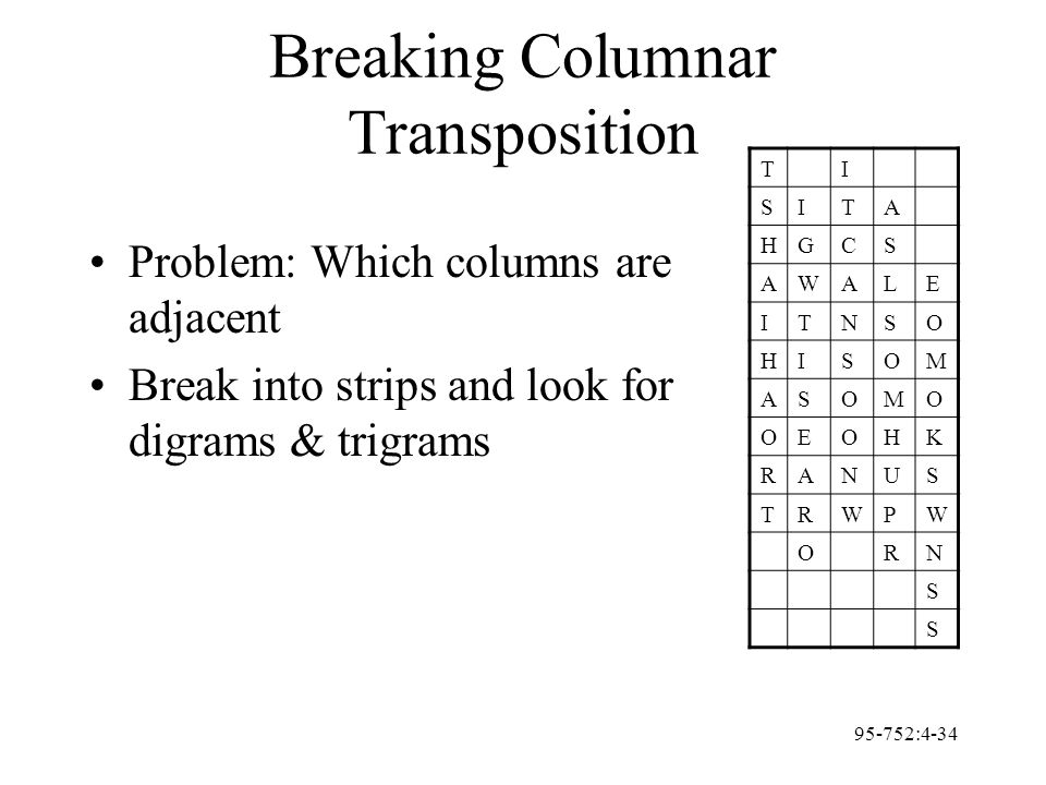 95-752:4-34 Breaking Columnar Transposition Problem: Which columns are adjacent Break into strips and look for digrams & trigrams TI SITA HGCS AWALE I