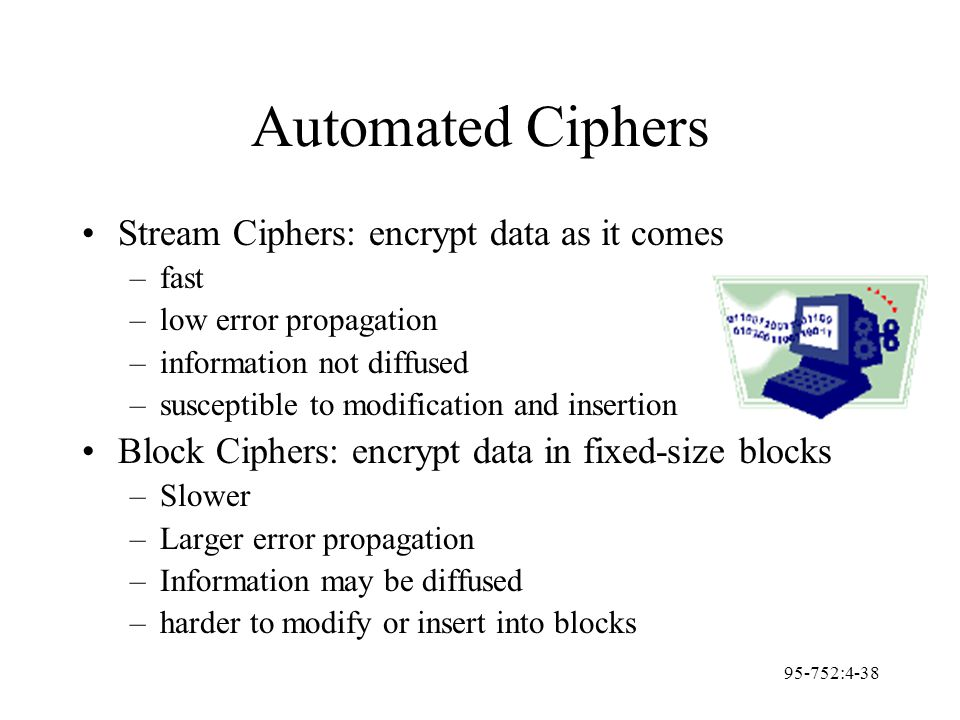 95-752:4-38 Automated Ciphers Stream Ciphers: encrypt data as it comes –fast –low error propagation –information not diffused –susceptible to modifica