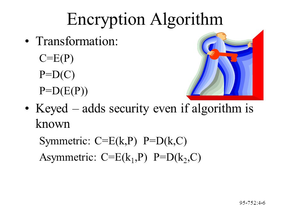 95-752:4-6 Encryption Algorithm Transformation: C=E(P) P=D(C) P=D(E(P)) Keyed – adds security even if algorithm is known Symmetric: C=E(k,P) P=D(k,C)