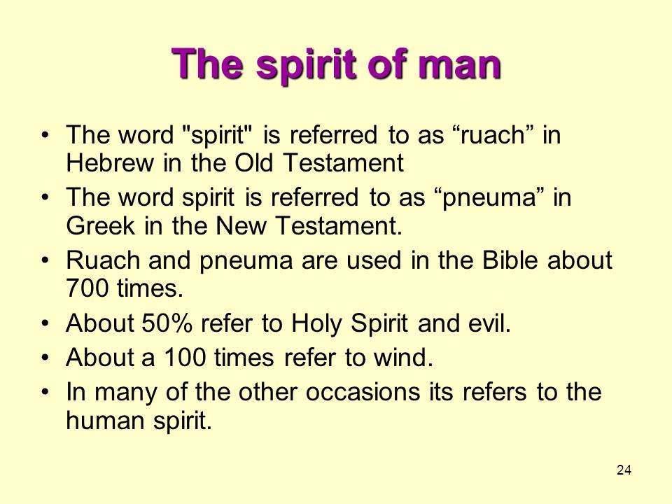 24 The spirit of man The word spirit is referred to as ruach in Hebrew in the Old Testament The word spirit is referred to as pneuma in Greek in the New Testament.