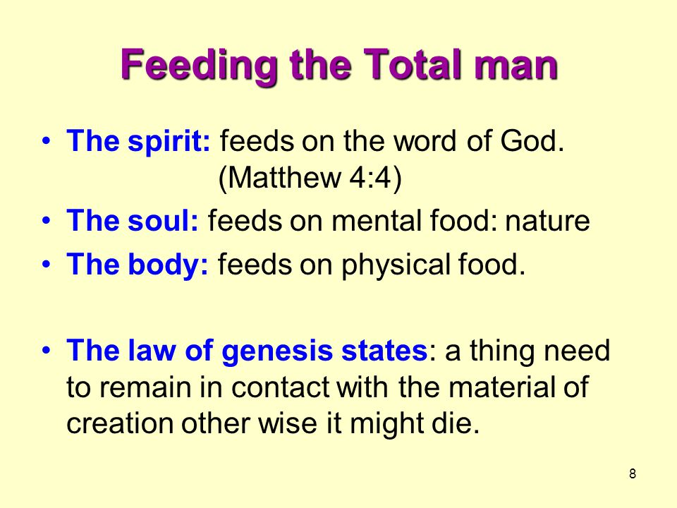 8 Feeding the Total man The spirit: feeds on the word of God.
