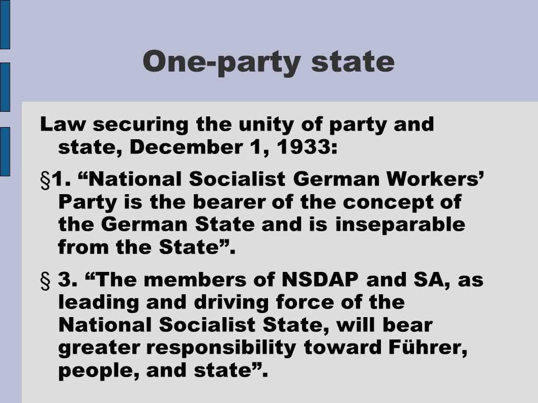 One-party state Law securing the unity of party and state, December 1, 1933: §1.