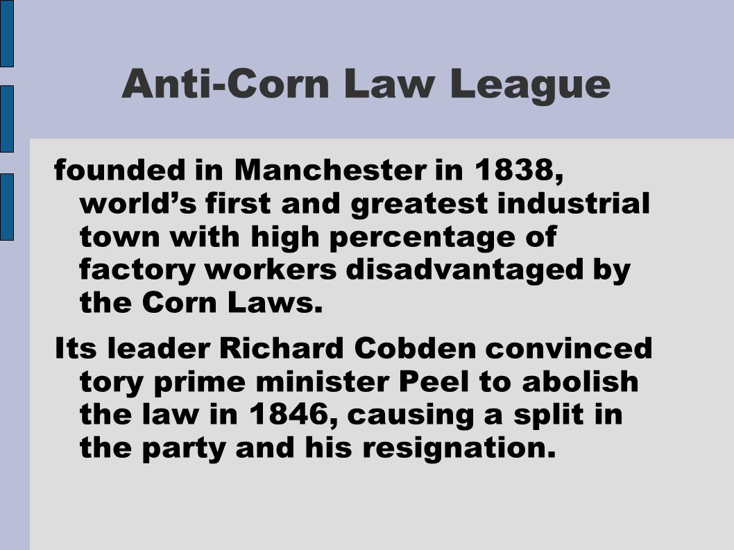 Anti-Corn Law League founded in Manchester in 1838, world's first and greatest industrial town with high percentage of factory workers disadvantaged b