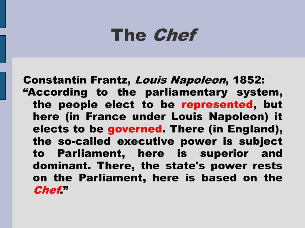 """The Chef Constantin Frantz, Louis Napoleon, 1852: """"According to the parliamentary system, the people elect to be represented, but here (in France unde"""