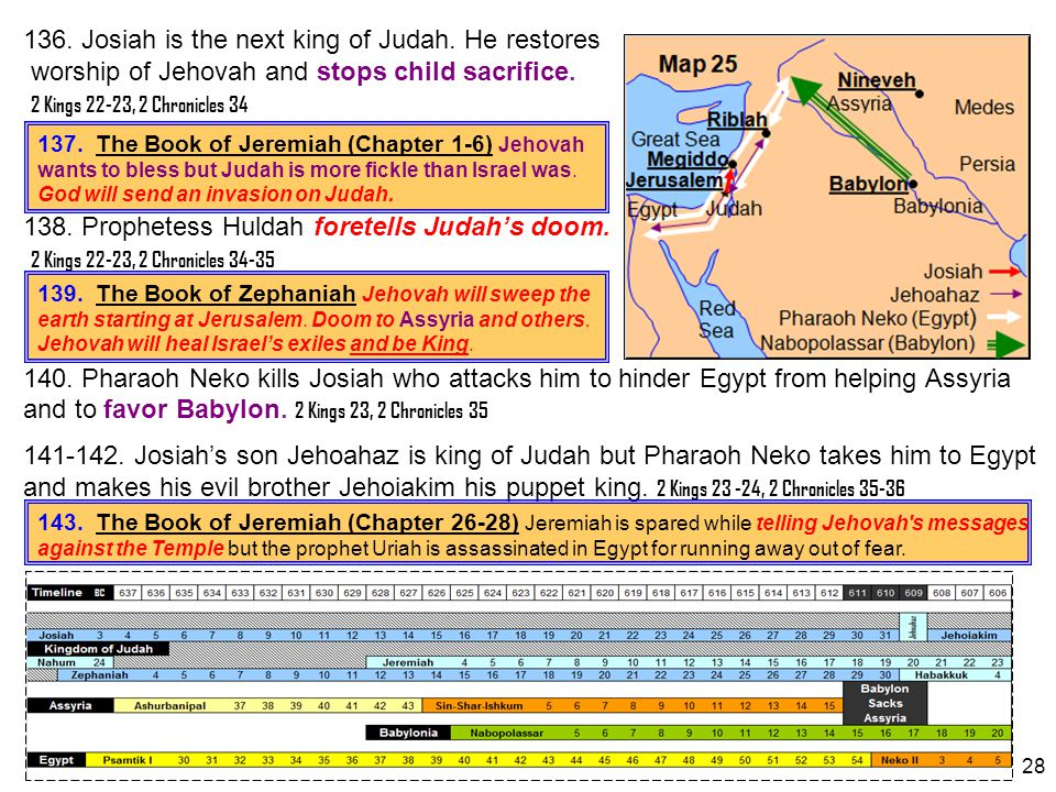 136. Josiah is the next king of Judah. He restores worship of Jehovah and stops child sacrifice. 2 Kings 22-23, 2 Chronicles 34 138. Prophetess Huldah