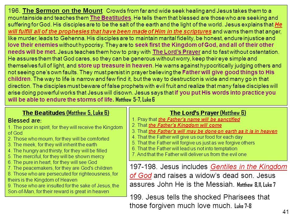 41 197-198. Jesus includes Gentiles in the Kingdom of God and raises a widow's dead son. Jesus assures John He is the Messiah. Matthew 8,11, Luke 7 19