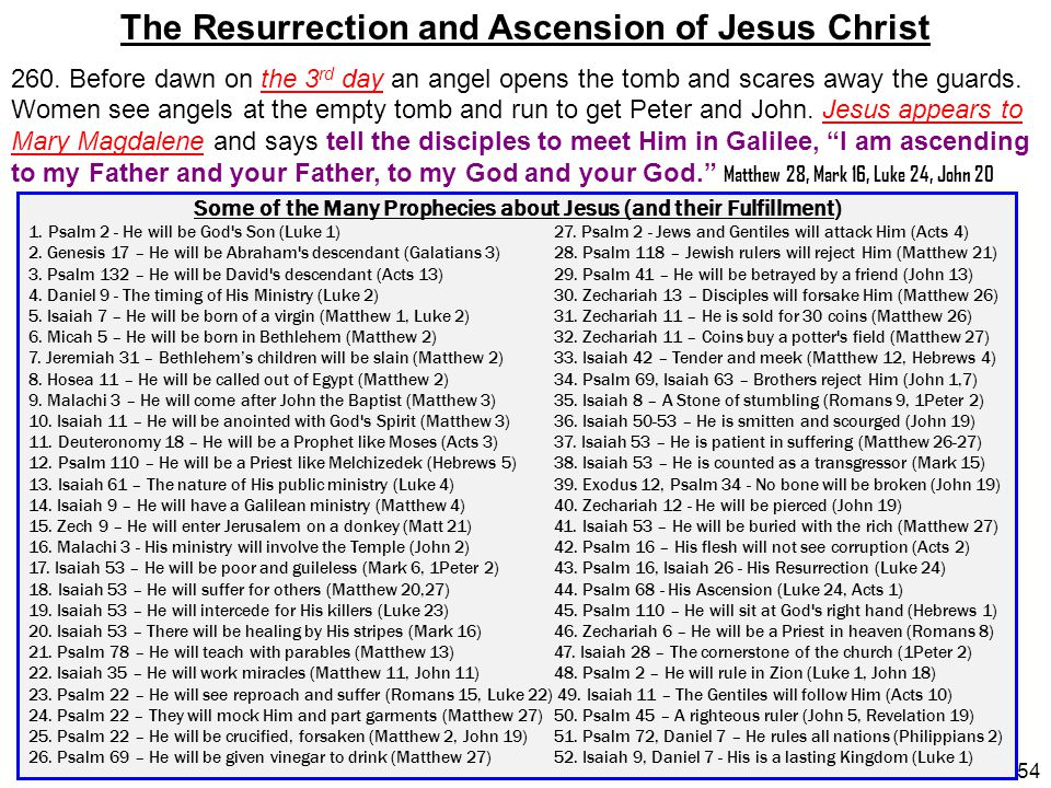 54 Some of the Many Prophecies about Jesus (and their Fulfillment) 1. Psalm 2 - He will be God's Son (Luke 1)27. Psalm 2 - Jews and Gentiles will atta
