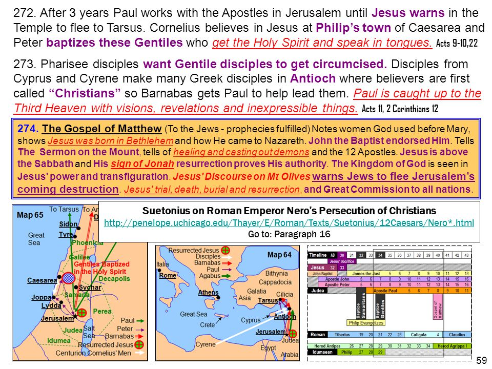 272. After 3 years Paul works with the Apostles in Jerusalem until Jesus warns in the Temple to flee to Tarsus. Cornelius believes in Jesus at Philip'
