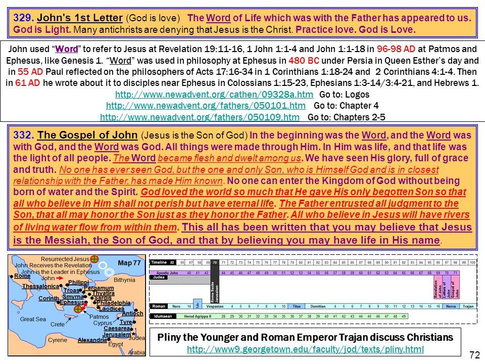 "72 John used ""Word"" to refer to Jesus at Revelation 19:11-16, 1 John 1:1-4 and John 1:1-18 in 96-98 AD at Patmos and Ephesus, like Genesis 1. ""Word"" w"