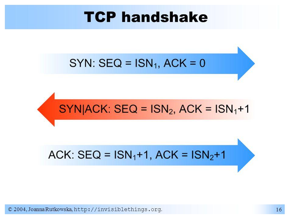 © 2004, Joanna Rutkowska, http://invisiblethings.org. 16 TCP handshake