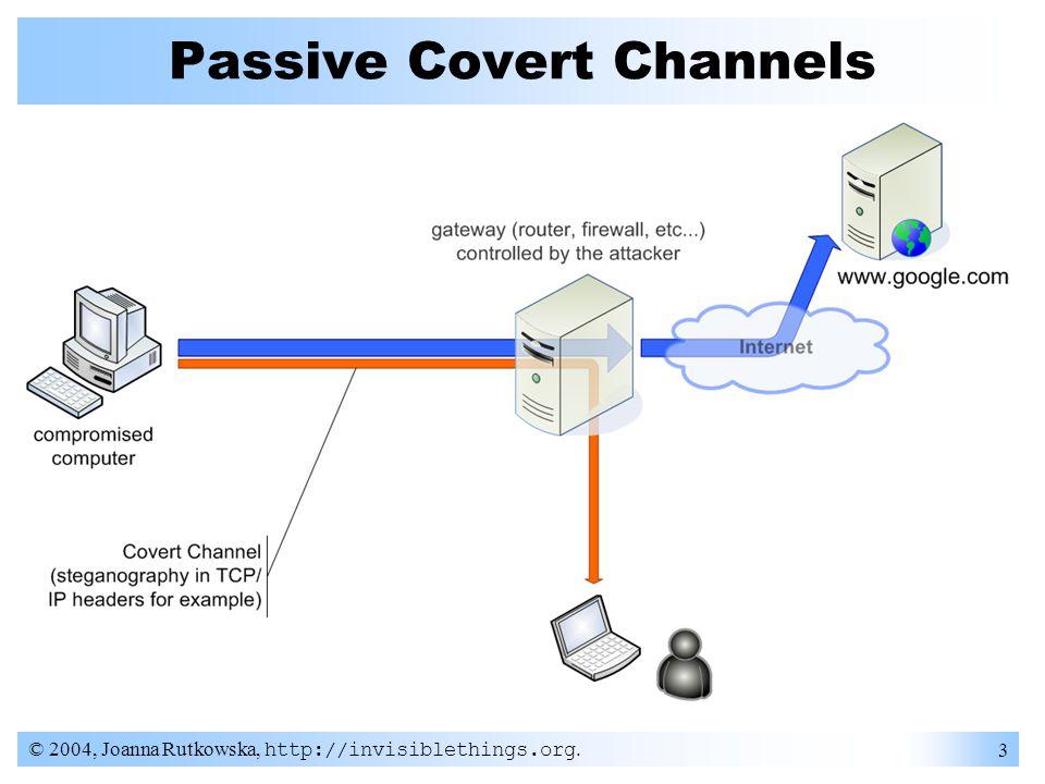 © 2004, Joanna Rutkowska, http://invisiblethings.org. 14 Passive Covert Channels