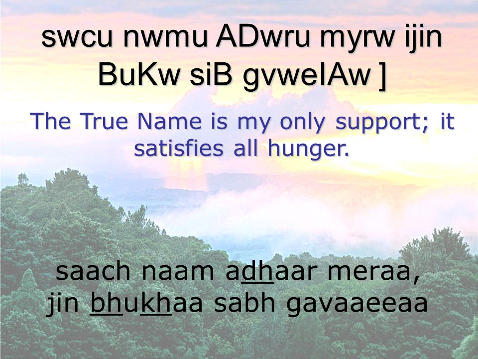 saach naam adhaar meraa, jin bhukhaa sabh gavaaeeaa swcu nwmu ADwru myrw ijin BuKw siB gvweIAw ] The True Name is my only support; it satisfies all hu