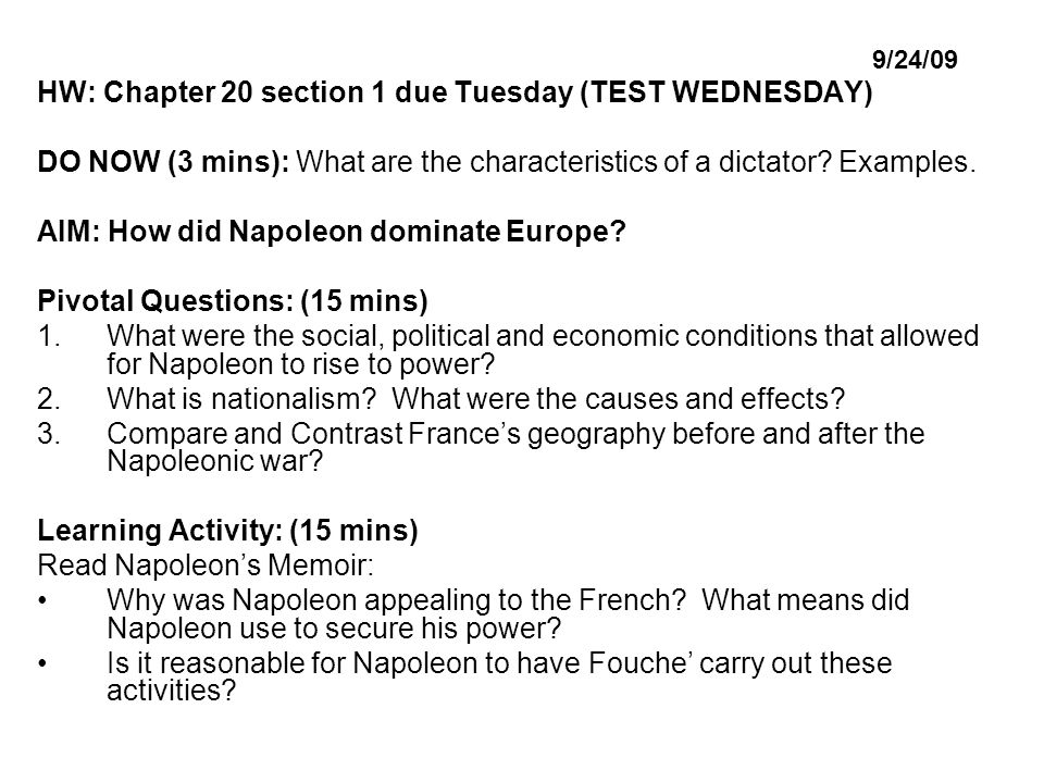 9/24/09 HW: Chapter 20 section 1 due Tuesday (TEST WEDNESDAY) DO NOW (3 mins): What are the characteristics of a dictator.