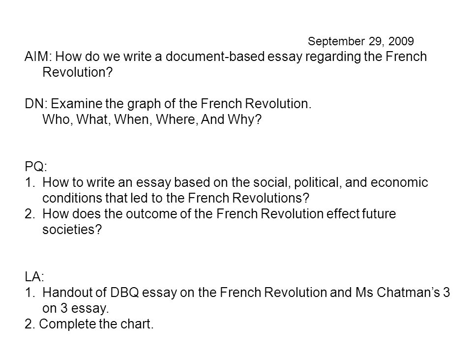 September 29, 2009 AIM: How do we write a document-based essay regarding the French Revolution.