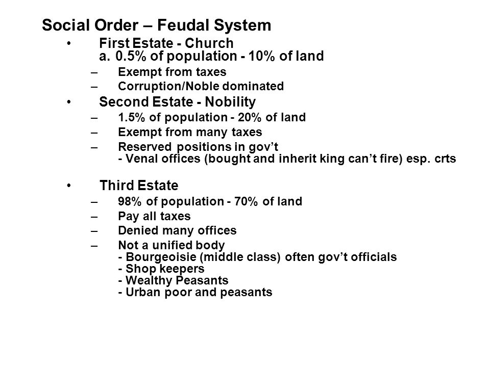 Social Order – Feudal System First Estate - Church a.0.5% of population - 10% of land –Exempt from taxes –Corruption/Noble dominated Second Estate - Nobility –1.5% of population - 20% of land –Exempt from many taxes –Reserved positions in gov't - Venal offices (bought and inherit king can't fire) esp.
