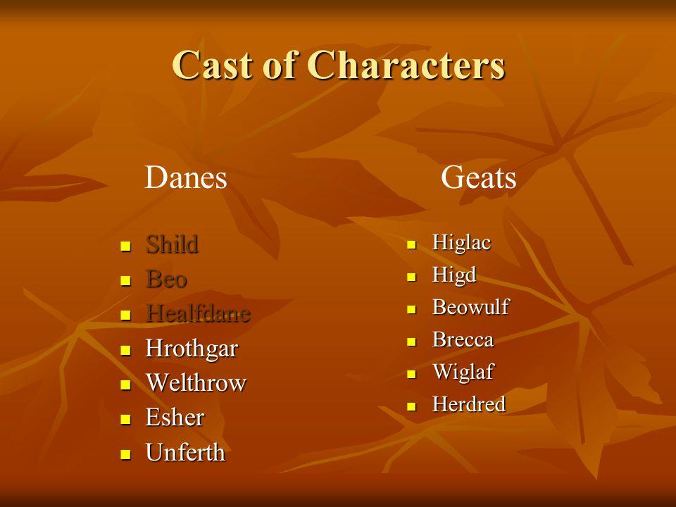 Cast of Characters Shild Shild Beo Beo Healfdane Healfdane Hrothgar Hrothgar Welthrow Welthrow Esher Esher Unferth Unferth Higlac Higlac Higd Higd Beo