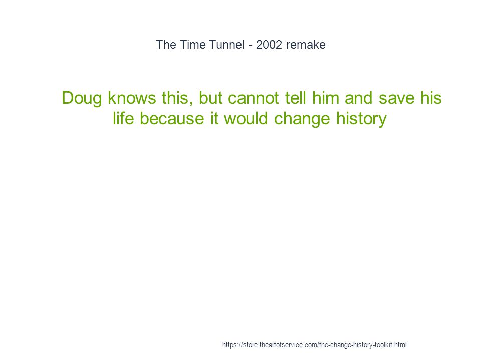 The Time Tunnel - 2002 remake 1 Doug knows this, but cannot tell him and save his life because it would change history https://store.theartofservice.c