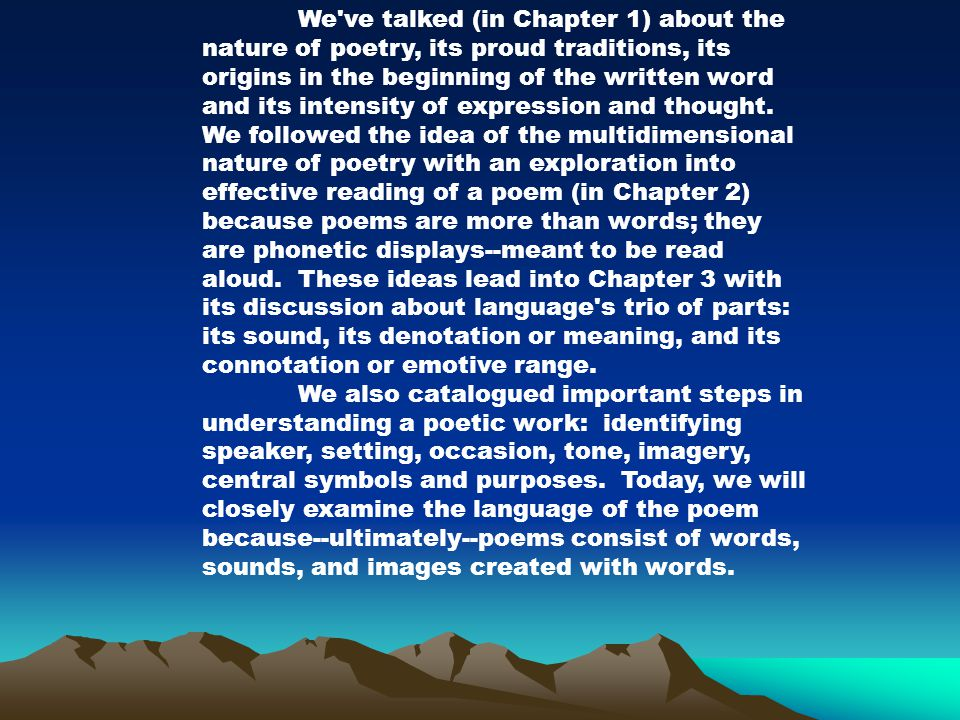 We ve talked (in Chapter 1) about the nature of poetry, its proud traditions, its origins in the beginning of the written word and its intensity of expression and thought.