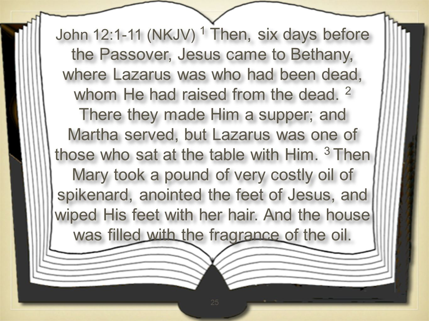 25 John 12:1-11 (NKJV) 1 Then, six days before the Passover, Jesus came to Bethany, where Lazarus was who had been dead, whom He had raised from the dead.