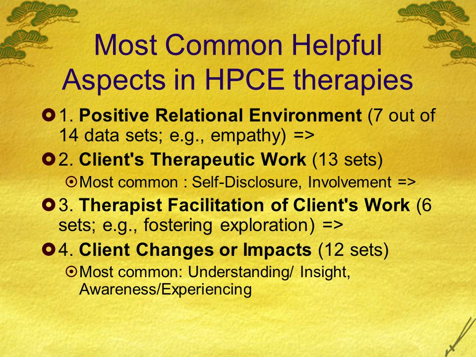 Most Common Helpful Aspects in HPCE therapies  1.