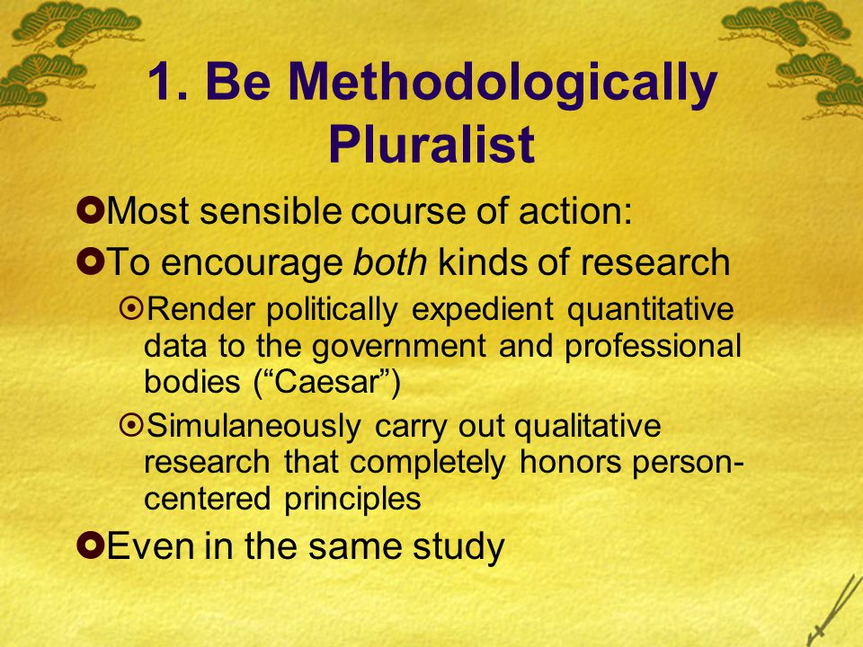 1. Be Methodologically Pluralist  Most sensible course of action:  To encourage both kinds of research  Render politically expedient quantitative d